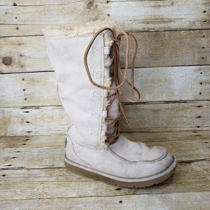 Ugg Tall Leather Boots Uptown Lace Up Size 7